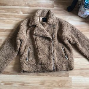 Forever 21 Teddy Jacket with Moto cut